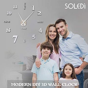 Orologio da Parete SOLEDI Orologio Parete Adesivo 3D Decorazione per Casa Ufficio Hotel Ristorante Fai Da Te Riempire Vuoto Parete 3D Orologio ( Argento e Nero) - 4