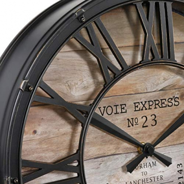 Orologio da parete stile vintage - Colore marrone ramato effetto invecchiato - Diametro 39cm . - 3