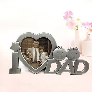 OULII Io amore papà metallo fotografia cornice festa del papà regali Home decorazione (argento) - 2