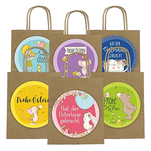 Papierdrachen - Sacchetti Regalo XXL per Bambini a Pasqua – Decorazione Pasquale Creativa con 6 Sacchetti di Carta e Adesivi XXL (14 cm) – Design 62 - 1