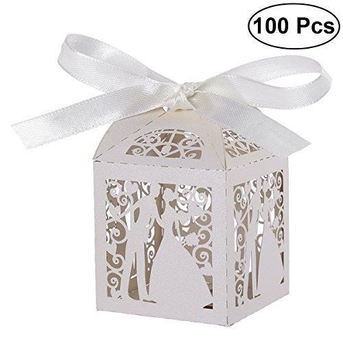 Pixnor 100pz matrimonio dolci caramelle scatole regalo favore - coppia Design (bianco) - 1