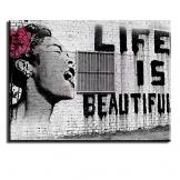 """Piy Painting Quadro su Tela Stampa Disegno su Tela Canvas Impermeabile Bansky Stile """"La Vita è Belle""""Decorazioni per Camera da Letto Soggiorno Camera da Pranzo Cucina 30x40cm - 1"""