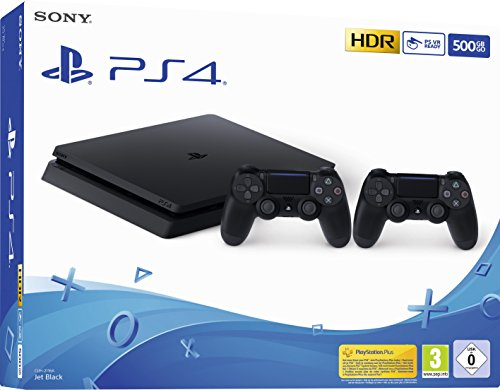 PlayStation 4 Slim 500GB F Chassis, Jet Black + 2° Dualshock 4 [Edizione: EU] - 1