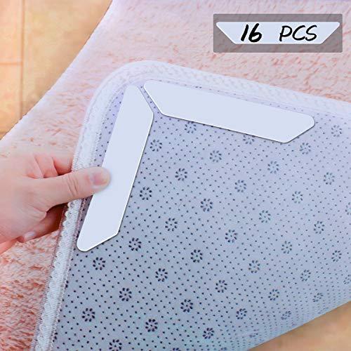 POAO - 16 Adesivi per tappeti, riutilizzabili, Lavabili, per Ufficio, Camera da Letto, Cucina, Bagno, Tappetino Antiscivolo, Colore: Bianco - 1