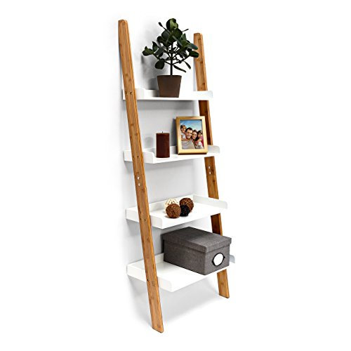 Relaxdays Scaffale in bambu´ modello BAMBOO colore bianco con le seguenti misure: HBT 144 x 56 x 34 cm con 4 ripiani in legno Scaffale /mensola in legno di bambu´ colore bianco - 1