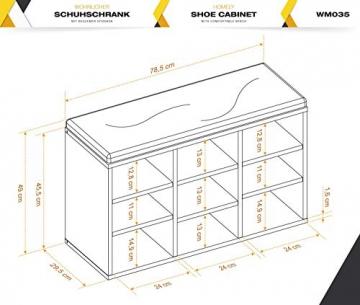 RICOO Scarpiera da Ingresso WM035-W-A Armadietto Armadio con Scaffale e scompartimenti Panca Sedile Comodo Scarpe ripiano Seduta Cuscino cassapanca Organizer portascarpe salvaspazio in Legno Bianco - 7
