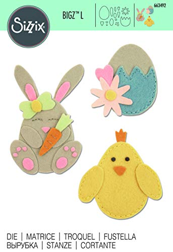Sizzix Bunny Chick And Egg Fustella, Multicolore, taglia unica - 3