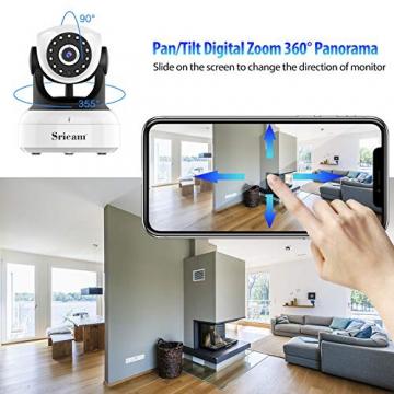 Sricam Ultima Versione SP017 Telecamera WiFi Interno di Sorveglianza 1080P Wireless IP Camera, Obiettivi Ruotabile, Audio Bidirezionale, Modalità Notturna a Infrarossi, Compatibile con iOS Android PC - 6