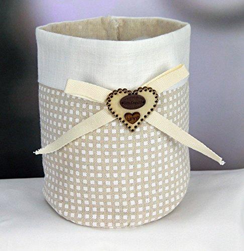 Subito disponibile 6 PEZZI Sacco Sacchetto confettata grande portaconfetti cuore legno - 1