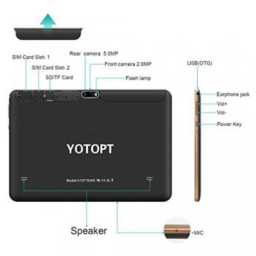 Tablet 10.1 Pollici 3G/WiFi YOTOPT - Android 7.0, Quad-core, RAM 2 GB, Memoria interna 16 GB, Bluetooth/ GPS/OTG -Nero - 3