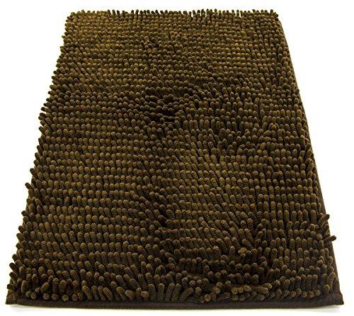 tappeto da bagno camera ingresso e cucina, a pelo lungo 2.5 cm, materiale in microfibra, scendi doccia morbida, assorbente, lavabile in lavatrice, retro in gomma antiscivolo marrone 50x80cm - 1