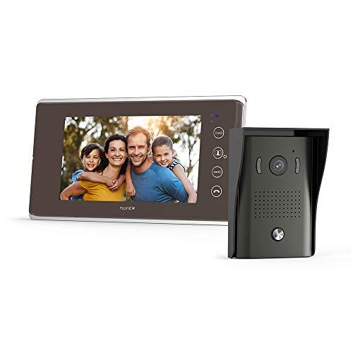 TILVIEW Videocitofono Bifamiliare Impermeabile Video Campanello 2 fili con telecamera per visione notturna e monitor LCD, 16 suonerie e memoria per schede SD - 1