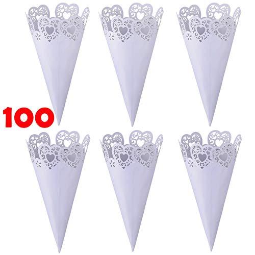 Tomkity 100 Pezzi Coni Portariso Riso Petali Festa Matrimonio Portaconfetti Portariso Perlato - 1