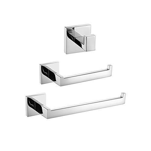 Turs 3-piece set di accessori da bagno SUS 304 in acciaio inox inossidabile carta igienica portasciugamani porta asciugamani bar/porta accappatoio gancio a parete, finitura lucida, K7010P - 1