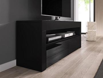 TV Porta Mobili Supporto Mobile Luna 140 Cm Corpo Nero Opaco / Front Nero Lucida - 2