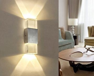 Unimall 6W Illuminazione per Interni Luce Sopra Sotto Lampada da Parete in Alluminio Applique Prate a LED decorativa per Casa Armadio Corridoio Soggiorno Hotel Bianco Caldo - 3