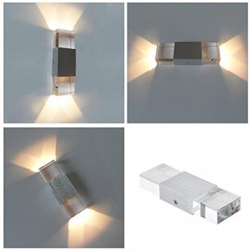 Unimall 6W Illuminazione per Interni Luce Sopra Sotto Lampada da Parete in Alluminio Applique Prate a LED decorativa per Casa Armadio Corridoio Soggiorno Hotel Bianco Caldo - 4