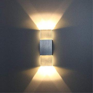 Unimall 6W Illuminazione per Interni Luce Sopra Sotto Lampada da Parete in Alluminio Applique Prate a LED decorativa per Casa Armadio Corridoio Soggiorno Hotel Bianco Caldo - 8