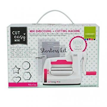 Vaessen Creative Mini Fustellatrice e Macchina per Goffratura Starter Kit, Bianco/Rosa, 12.5 x 21 x 9.5 cm - 2