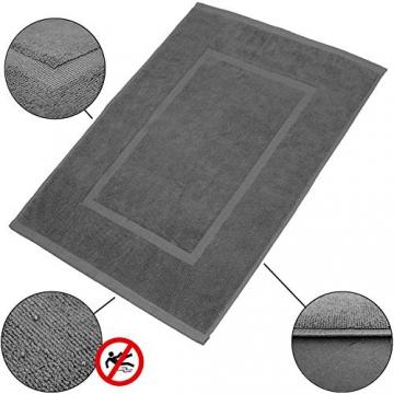 valneo Scendibagno in Puro Cotone Grigio, 50x70cm di Prima qualità 800 g/m² - Tapetino per Bagno, Tappeto da Doccia - 2