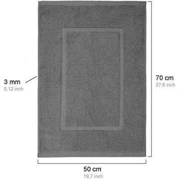 valneo Scendibagno in Puro Cotone Grigio, 50x70cm di Prima qualità 800 g/m² - Tapetino per Bagno, Tappeto da Doccia - 3