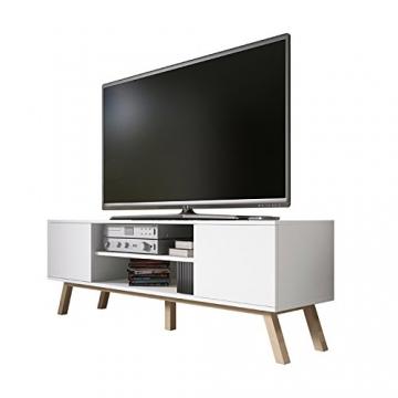 Vero Wood – Mobile Porta TV/Mobiletto Porta TV Moderno (150 cm, Bianco Opaco/Pannelli Frontali Bianco Opaco) - 2
