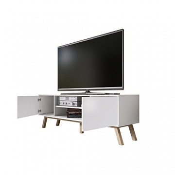 Vero Wood – Mobile Porta TV/Mobiletto Porta TV Moderno (150 cm, Bianco Opaco/Pannelli Frontali Bianco Opaco) - 3