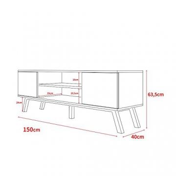 Vero Wood – Mobile Porta TV/Mobiletto Porta TV Moderno (150 cm, Bianco Opaco/Pannelli Frontali Bianco Opaco) - 4