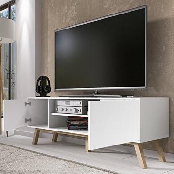 Vero Wood – Mobile Porta TV/Mobiletto Porta TV Moderno (150 cm, Bianco Opaco/Pannelli Frontali Bianco Opaco) - 5