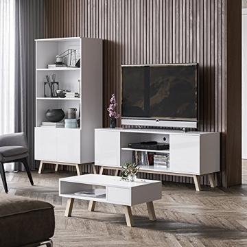 Vero Wood – Mobile Porta TV/Mobiletto Porta TV Moderno (150 cm, Bianco Opaco/Pannelli Frontali Bianco Opaco) - 6