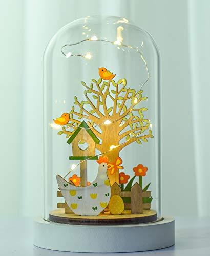 Victor's Workshop Cupola in Vetro a LED Decorativa per Pasqua 19 cm in Legno per la Decorazione Primaverile - 1