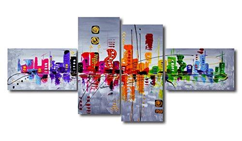 Visario - 6515, Set di quadri su tela, motivo moderno, effetto dipinto a mano, XXL (160 x 70 cm) - 1