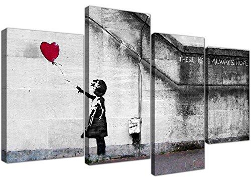 Wallfillers Quadro su Tela Banksy Extra Large, ragazza con palloncini, 130 cm XL Rosso | Set 4050 - 1