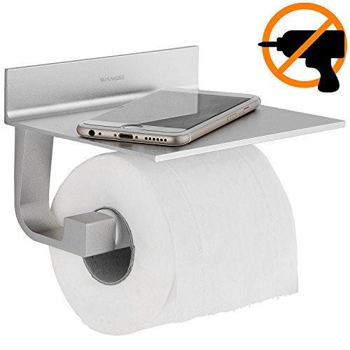 Wangel Porta rotolo Carta Igienica, Colla Brevettata + Autoadesivo, Alluminio, Finitura Opaca - 1