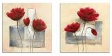 Wieco Art, 2pannelli allungati e incorniciati in stile contemporaneo glicée, stampe su tela con immagine di fiori astratti dipinti a olio, decorazione per casa, camera da letto - 1