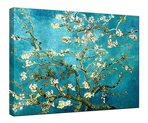 """Wieco Art, stampa su tela con riproduzione del """"Ramo di mandorlo in fiore"""" di Van Gogh, stampa Giclée, decorazione da parete, Blue, 16x12inch (40x30cm) - 1"""