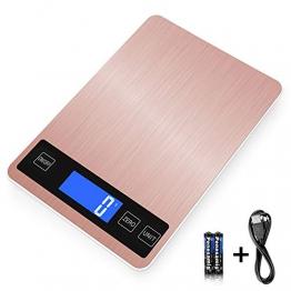 XIANGHUI Bilancia Digitale da Cucina, Bilancia Elettronica Professionale, con Display LCD, Funzione Tara, precisione Meravigliosa Fino a 1 g (10 kg di Peso Massimo), Oro Rosa, USB - 1