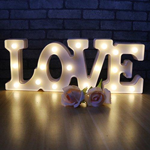 XIYUNTE Luci notturne Mood Lights - LED 'LOVE' San Valentino Luce del tema, Luci notturne per bambini, Batteria Operated Lampade da tavolo applique da parete, Decorazione di matrimonio(LOVE) - 1