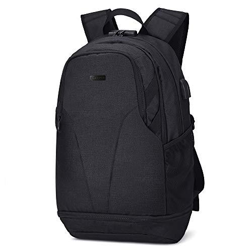 Xnuoyo Laptop Zaino Antifurto, 17.3 Pollici Impermeabile Zaino Porta PC con Porta USB di Ricarica Interfaccia Cuffie Unisex Zaino da Viaggio per Il Viaggio per Notebook Tablet, Nero - 1