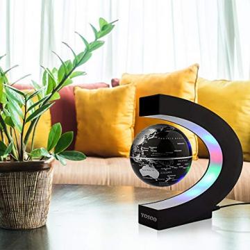 Yosoo® C Forma Globo Fluttuante con LED a Levitazione Magnetica, per l'Istruzione, Imparare, Insegnare, Decorazione della Casa Ufficio, Idee Regalo - Nero - 5