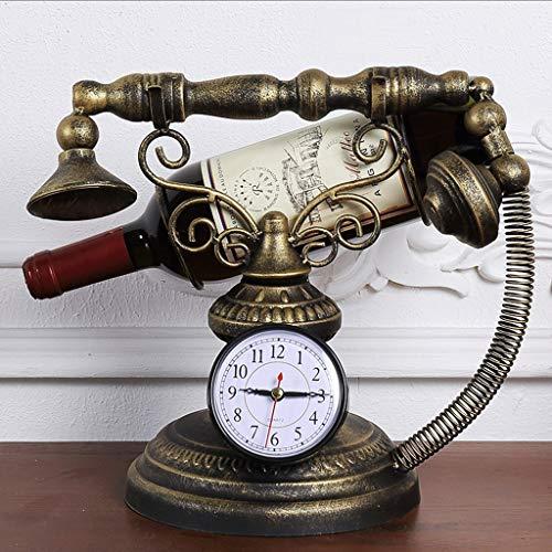 Zcx Cremagliera del Vino Europeo/Retro Stile del Vino Dell'orologio del Telefono di Stile del Ferro Battuto/Cremagliera del Vino Dell'orologio (Colore : Bronzo) - 1