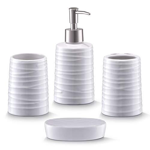 Zeller 18266 Set di Accessori per Bagno, Ceramica, Bianco, 0.1x0.1x0.1 cm, 4 unità - 1
