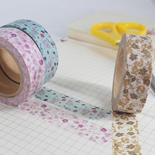 10 rotoli di 10 metri Floreale Nastro Washi Tape, Nastro Adesivo Decorativo DIY Washi mascheratura nastri per fai da te, artigianato, decorazione di libri, mestieri, fantastico per feste e party - 1