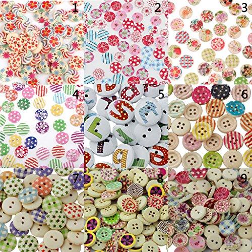 100pcs Righe Rotondo Dipinto 4 Fori Bottoni In Legno Cucire Fai Da Te Mestiere Scrapbooking - 1