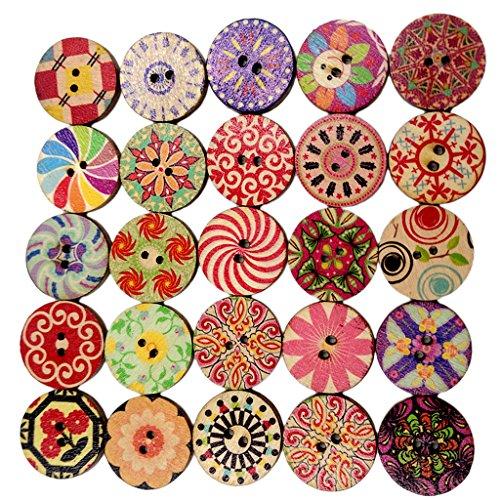 100pz Rotondo Stampa Bottoni Di Legno Per Cucito E Artigianato scrapbooking Decorazione 20mm - 1