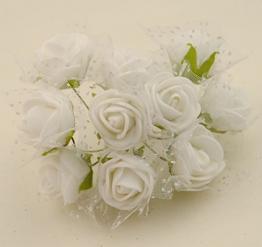 100x Fiorellini Rose ROSA Foam PE Con Organza Neve Bomboniera Fai Da te decorazione (BIANCO) - 1