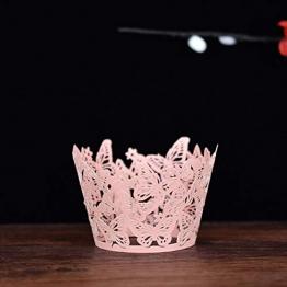 20 PCS Involucri Cupcake Artistici cuociono Le Tazze di Carta della Torta Vine Pizzo Tagliato al Laser Che cuociono i vassoi della Cassa del Muffin per la Festa Nuziale Decorazione di Compleanno Rosa - 1