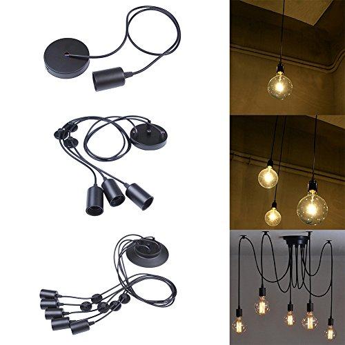 3-testa Lampada a Sospensione Vintage Edison Soffitto Apparecchio a Sospensione E27 Industrial Light Lampada Nero Regolabile Lampadario - 1