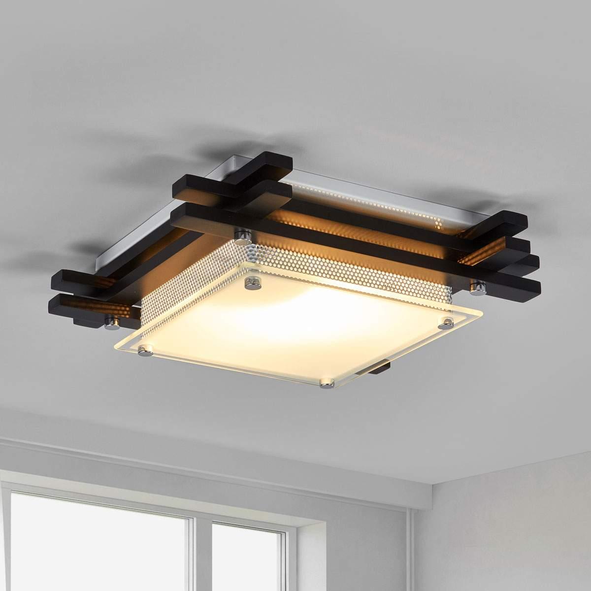 Plafoniera EDISON, legno scuro Illuminazione per interni