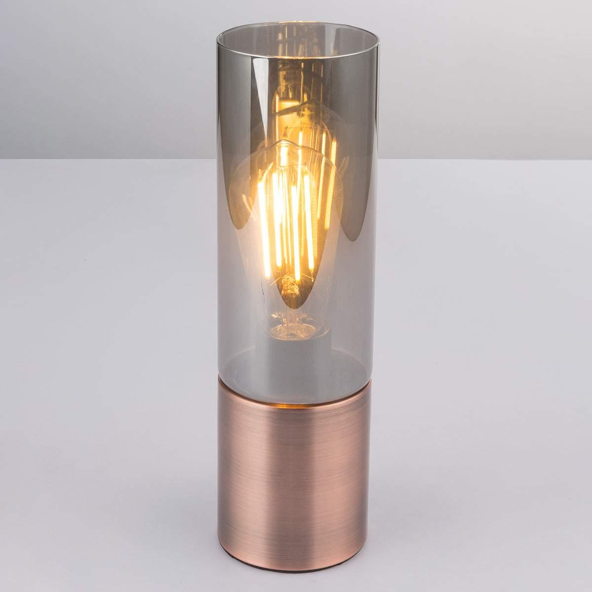 Annika – lampada da tavolo cilindrica color rame Illuminazione per interni